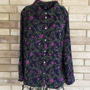 Basic Editions 2X Top Corduroy Shirt Pearl Snaps